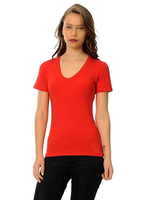 Grip V Yaka Tişört Kırmızı